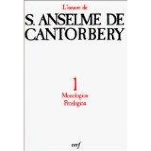 OEUVRE A DE CANTORBERY. Tome 1