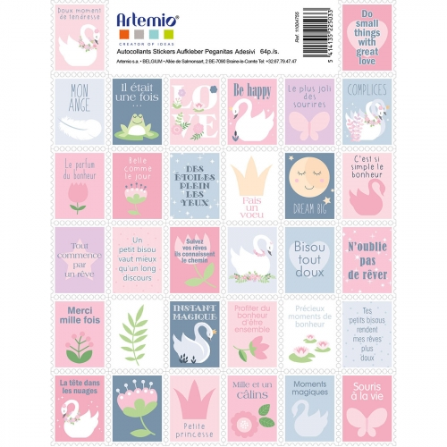 2 planches stickers timbres - Lovely Swan
