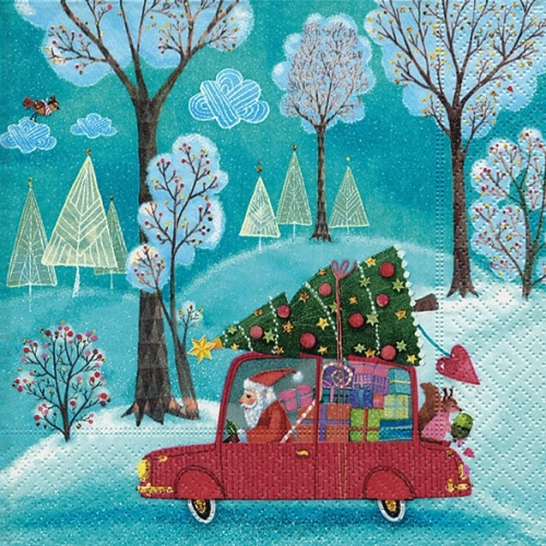 20 serviettes - Santa by car - 33 x 33 cm