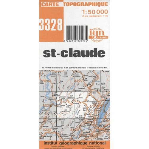 St-Claude - Carte topographique 1/50 000