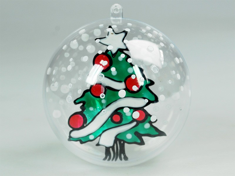 Boules de no l window color th me traditionnel enfant for Boule de noel plastique a decorer