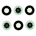 Lot boutons - ronds geometrie noirs