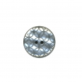 Bouton poly kaleidoscope 2 trous - argent - 38mm