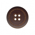 Bouton imitation cuir - marron - 28mm