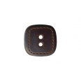 Bouton imitation cuir - marron - 18mm