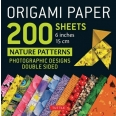 """Origami paper 200 sheets nature patterns 6"""" (15 cm)"""
