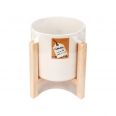 Cache-pot porcelaine blanc avec support bois - Cultura Collection