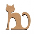 Support bois - chat assis - 26 cm