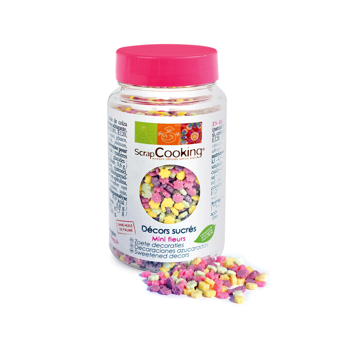 Image du produit Pot de minis decors fleurs assorties 55 gr - Scrapcooking