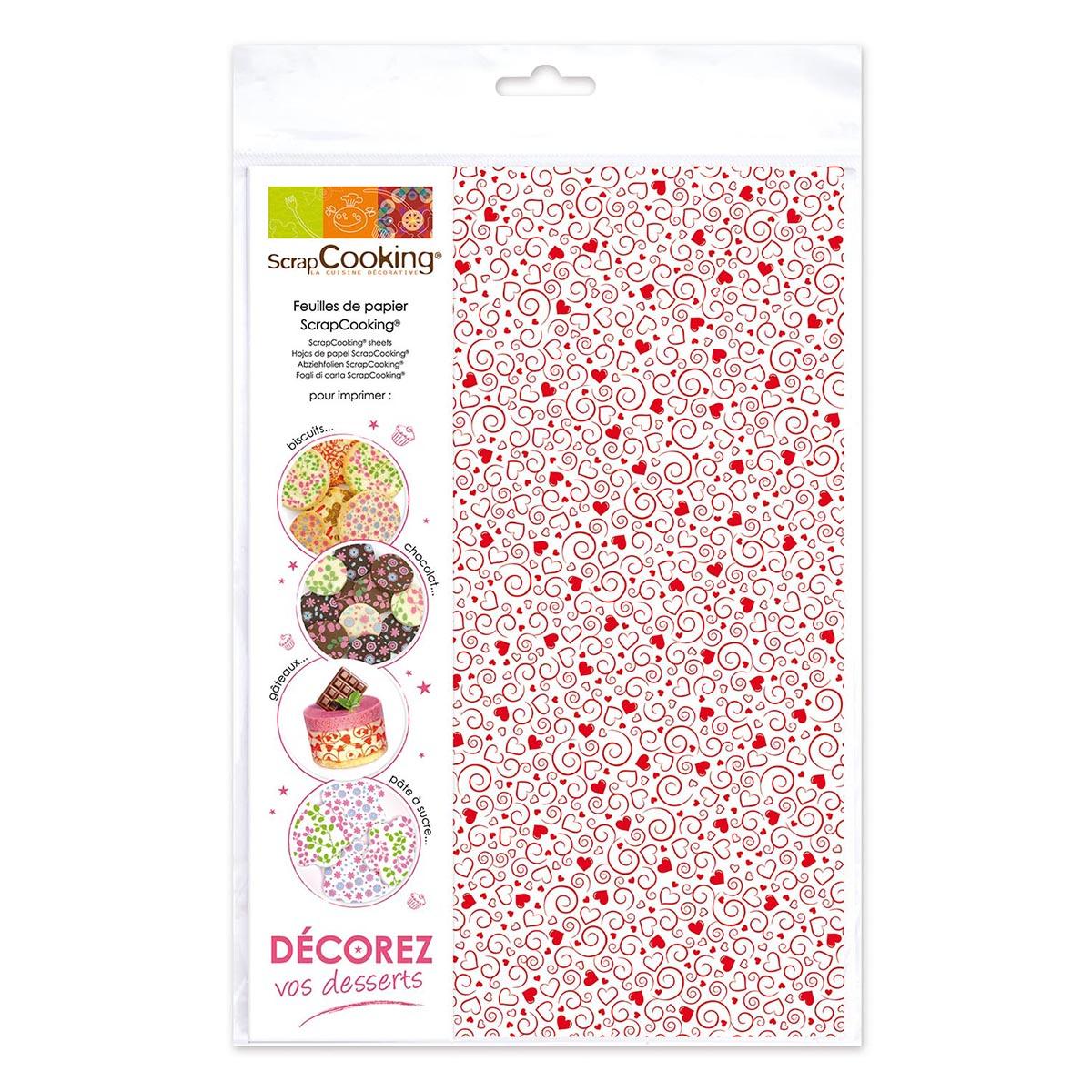 Image du produit 2 feuilles - coeurs rouges - Scrapcooking