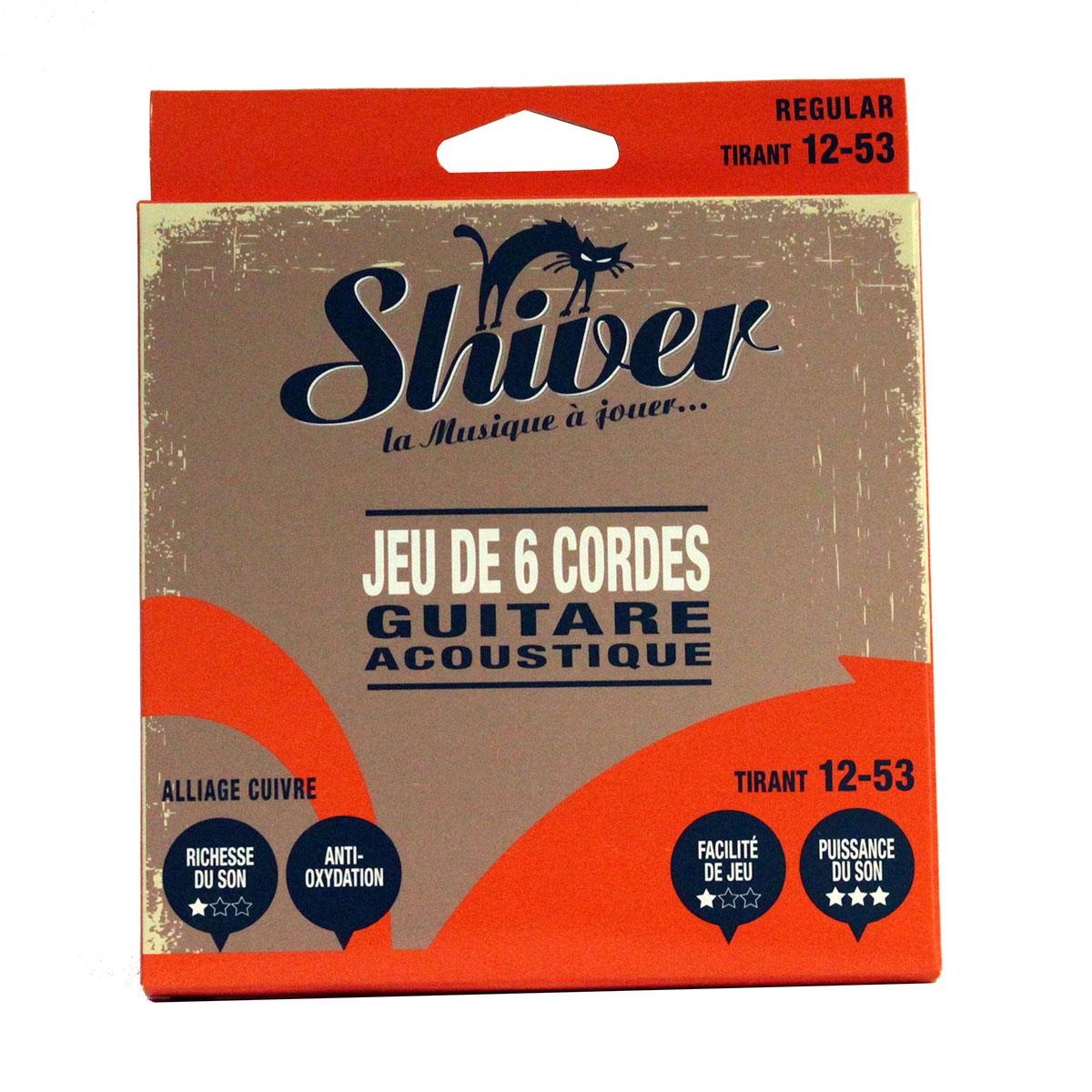 Shiver - Jeu 6 cordes guitare folk 12-53 basic cuivre