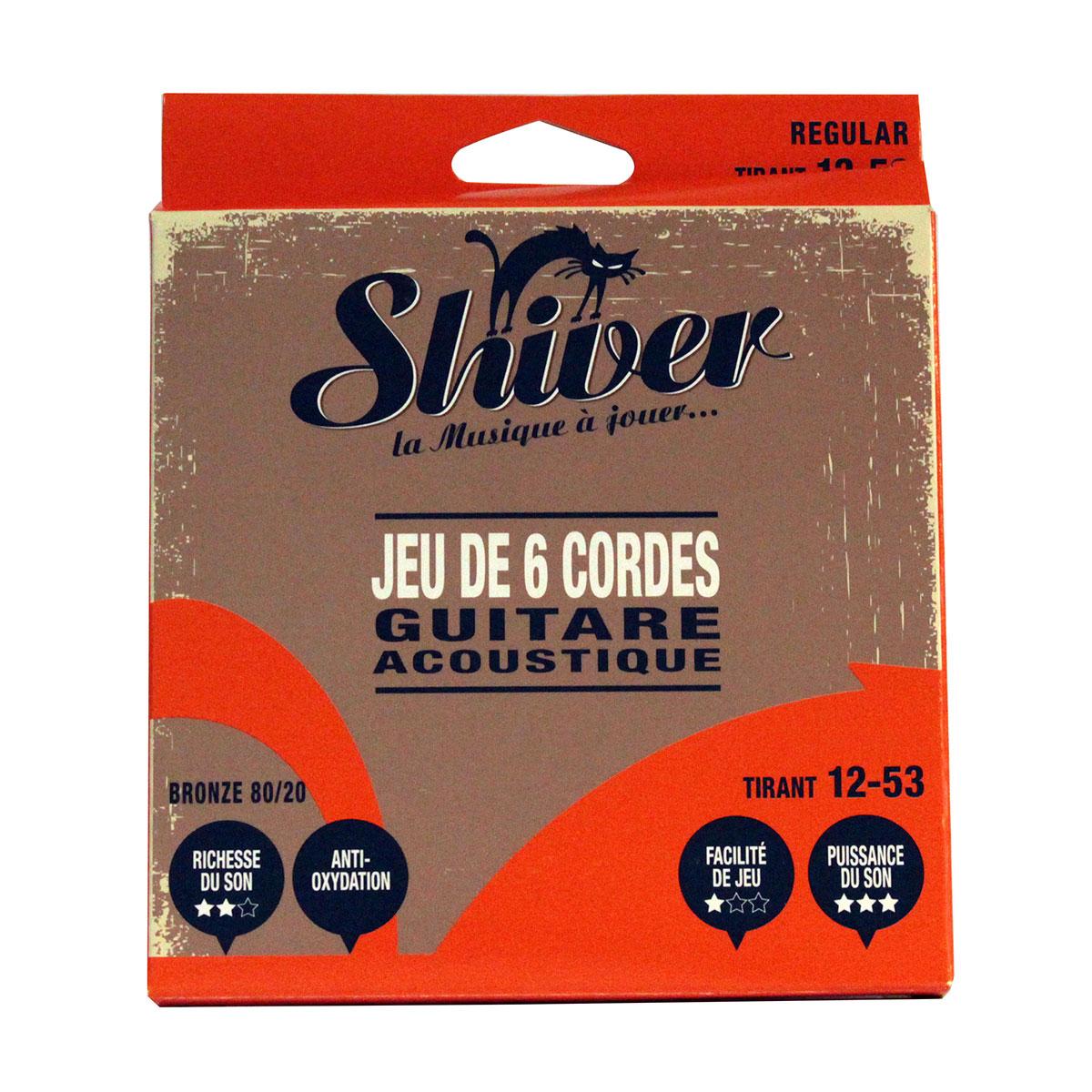 Shiver - Jeu 6 cordes guitare folk 12-53 standard bronze