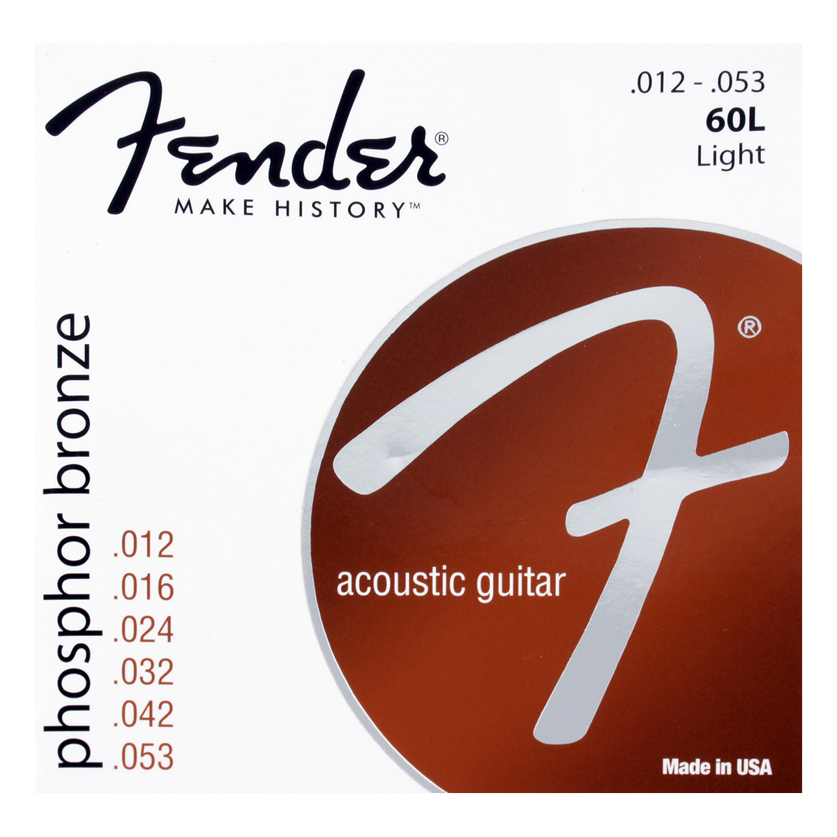 Fender - Jeu cordes guitare folk - 60L - 12/53