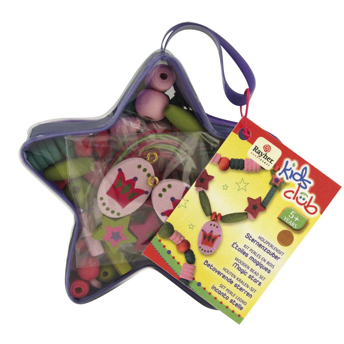 Kit perles en bois  - Étoiles Magiques Mauves