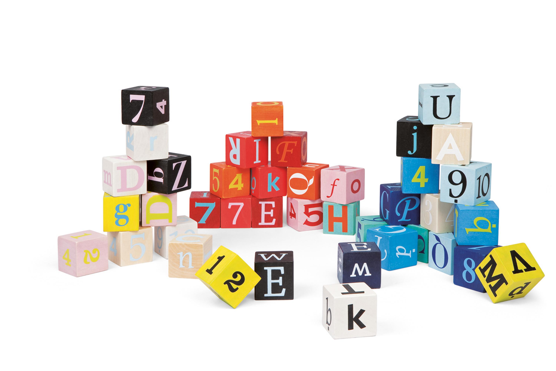 Kubix - 40 cubes Lettres + Chiffres bois