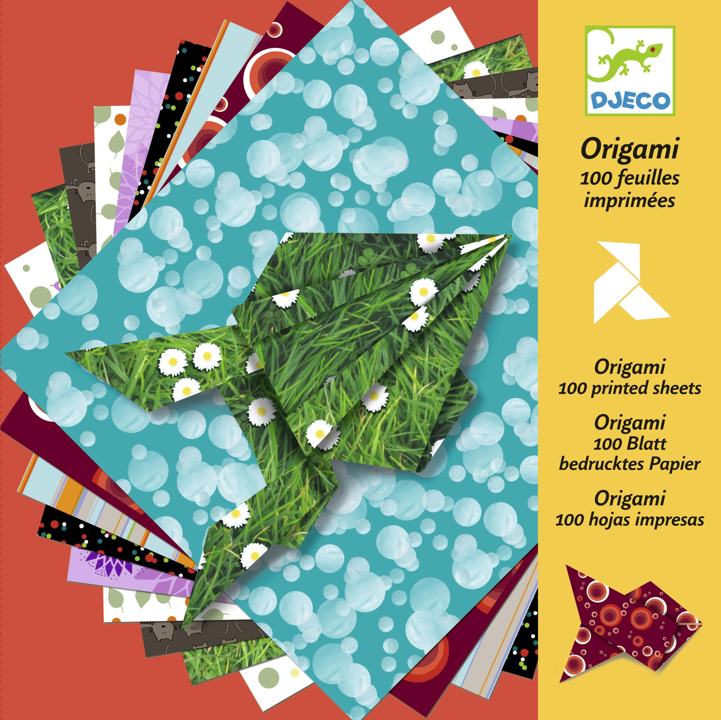 100 feuilles imprimées origami