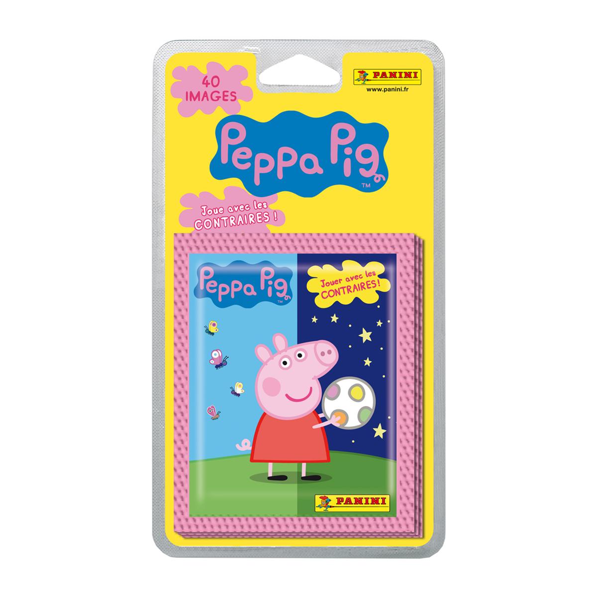 Stickers Peppa Pig joue avec les contraires - 8 pochettes