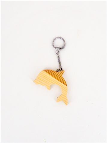 Porte clefs bois forme dauphin
