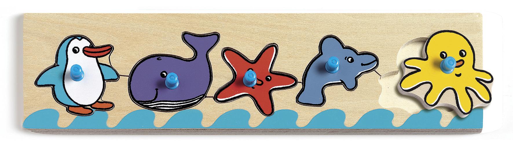 Puzzle bois - animaux marins - 30x8cm