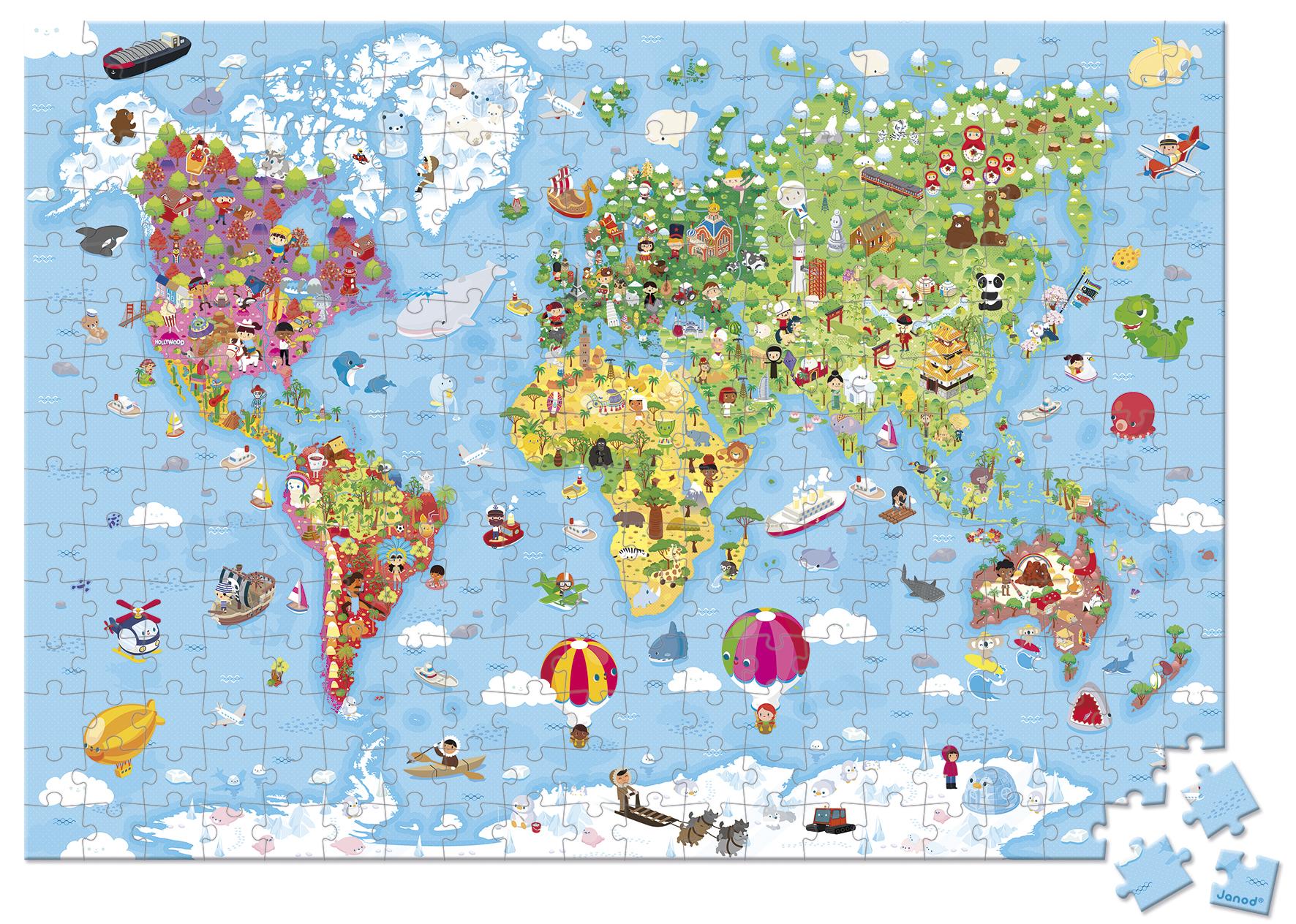 Valise puzzle géant Monde - 300 pièces