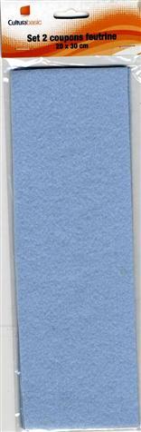 Set 2 feuilles feutrine - 20x30cm - bleu clair