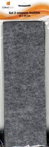 Set 2 feuilles feutrine 20x30 gris