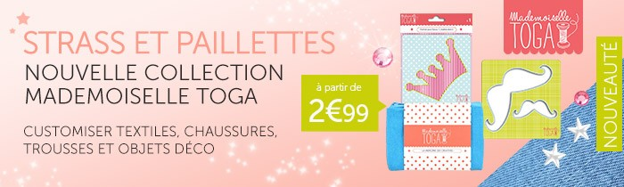 nouveautés mademoiselle toga strass pochoirs thermocollant