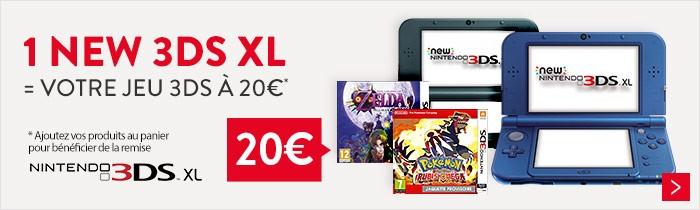 Une console 3DS XL achetée = 1 jeu à 20€