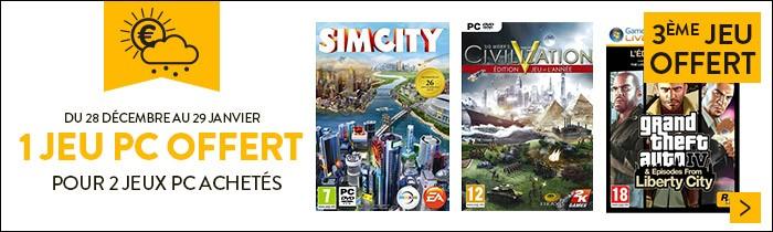 2 jeux PC + 1 offert