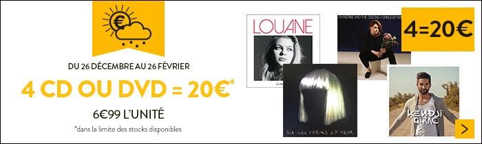 4 CD ou DVD = 20€