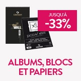 Albums, blocs et papiers jusqu'à - 33%