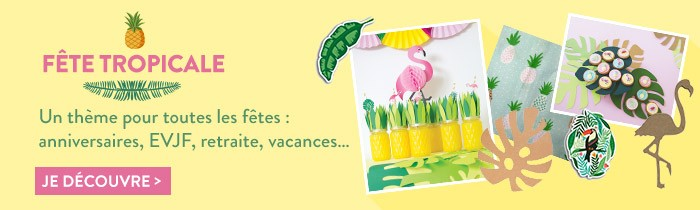 fête tropicale flamand rose palmiers ananas