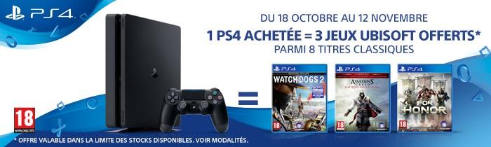 1 PS4 = 3 jeux offerts