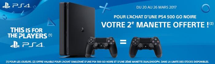 PS4 + 2e manette offerte