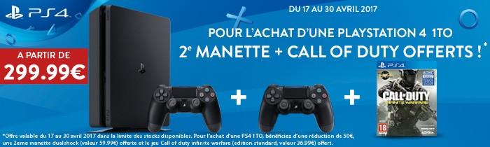 PS4 1TO = 2e manette + jeu COD offert