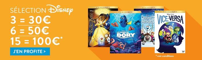 Disney: 3=30€ / 6=50€ / 15=100€