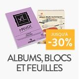 albums, blocs et papiers jusqu'à - 30%