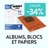 albums, blocs et papiers