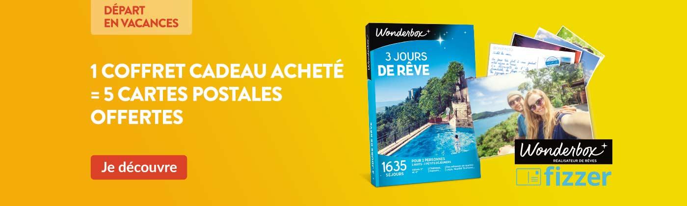 Pour l'achat d'un coffret Wonderbox personnalisez 5 cartes postales pour partager vos vacances.