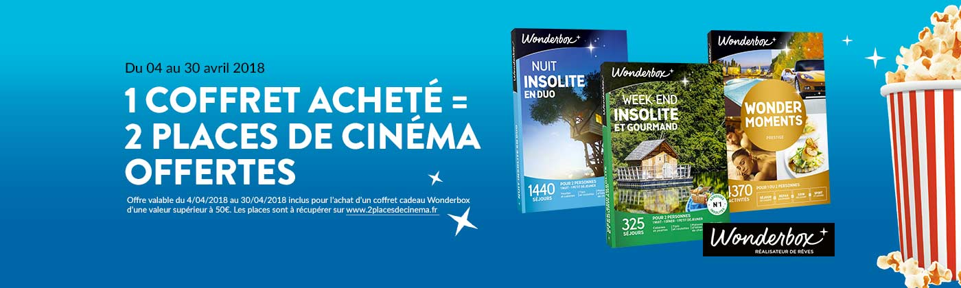 Wonderbox 1 coffret acheté = 2 places de cinéma offertes