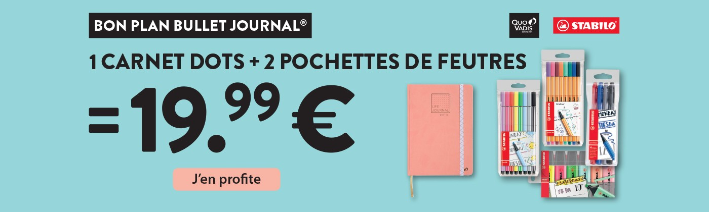 Bon Plan Bullet Journal - 1 Carnet Dots + 2 Pochettes Feutres = 19,99€